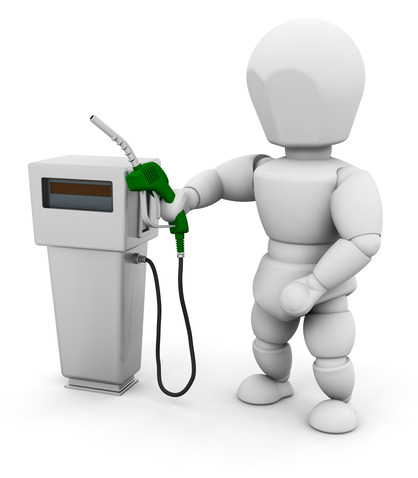 Person with fuel pump