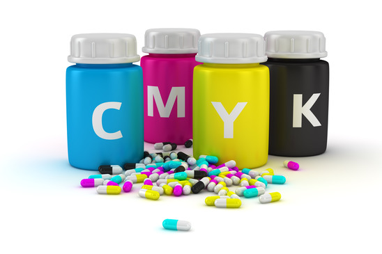 Medical capsules of CMYK colors