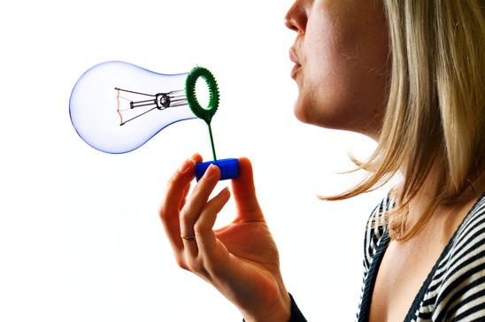 Blowing lamp bubble