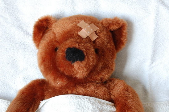 Teddy bear with injury