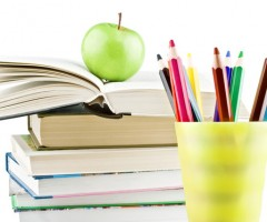 back to school apple, pens, books