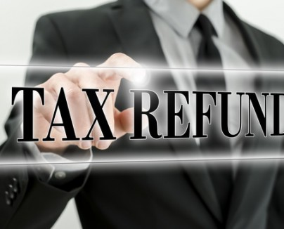 Man Pointing at Tax refund