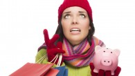 Stressed  Woman Shopping and Piggy Bank