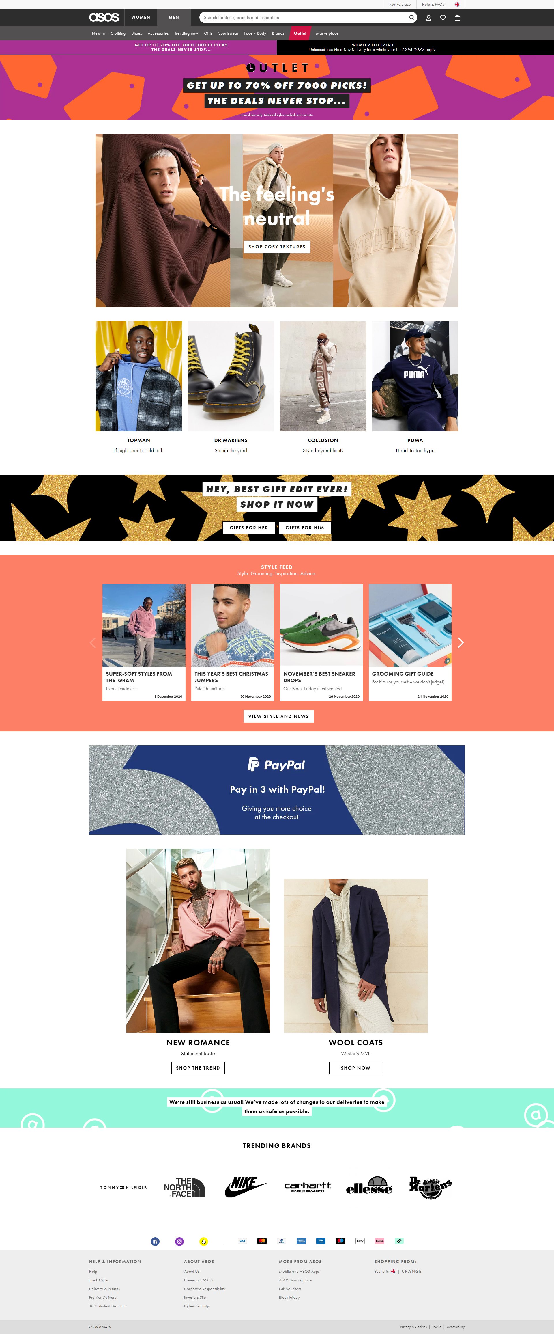 ASOS website screenshot that if clicked goes striaght to men page