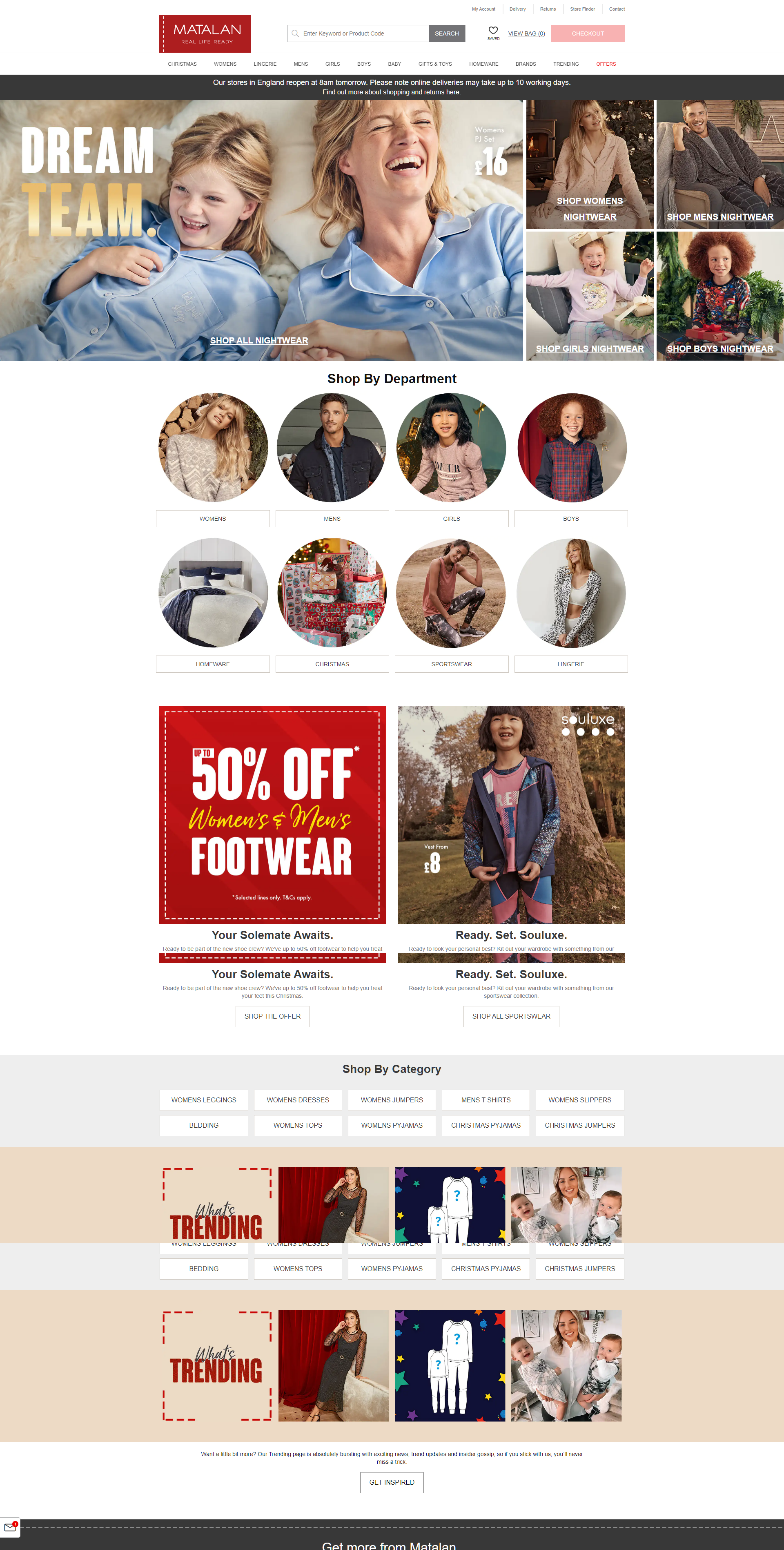 Matalan screenshot of website homepage with link to it