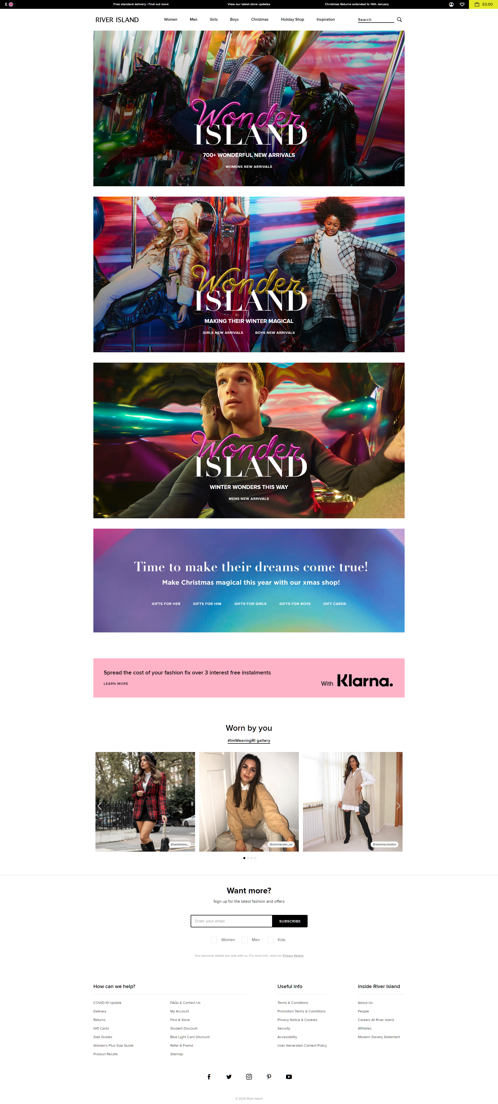 River Island screenshot of website homepage with link to it