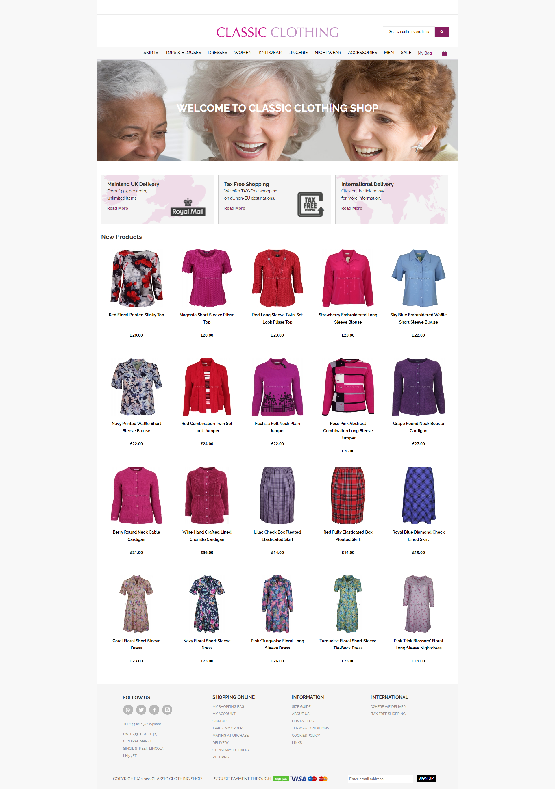 Classic Clothing Shop screenshot of website homepage with link to it