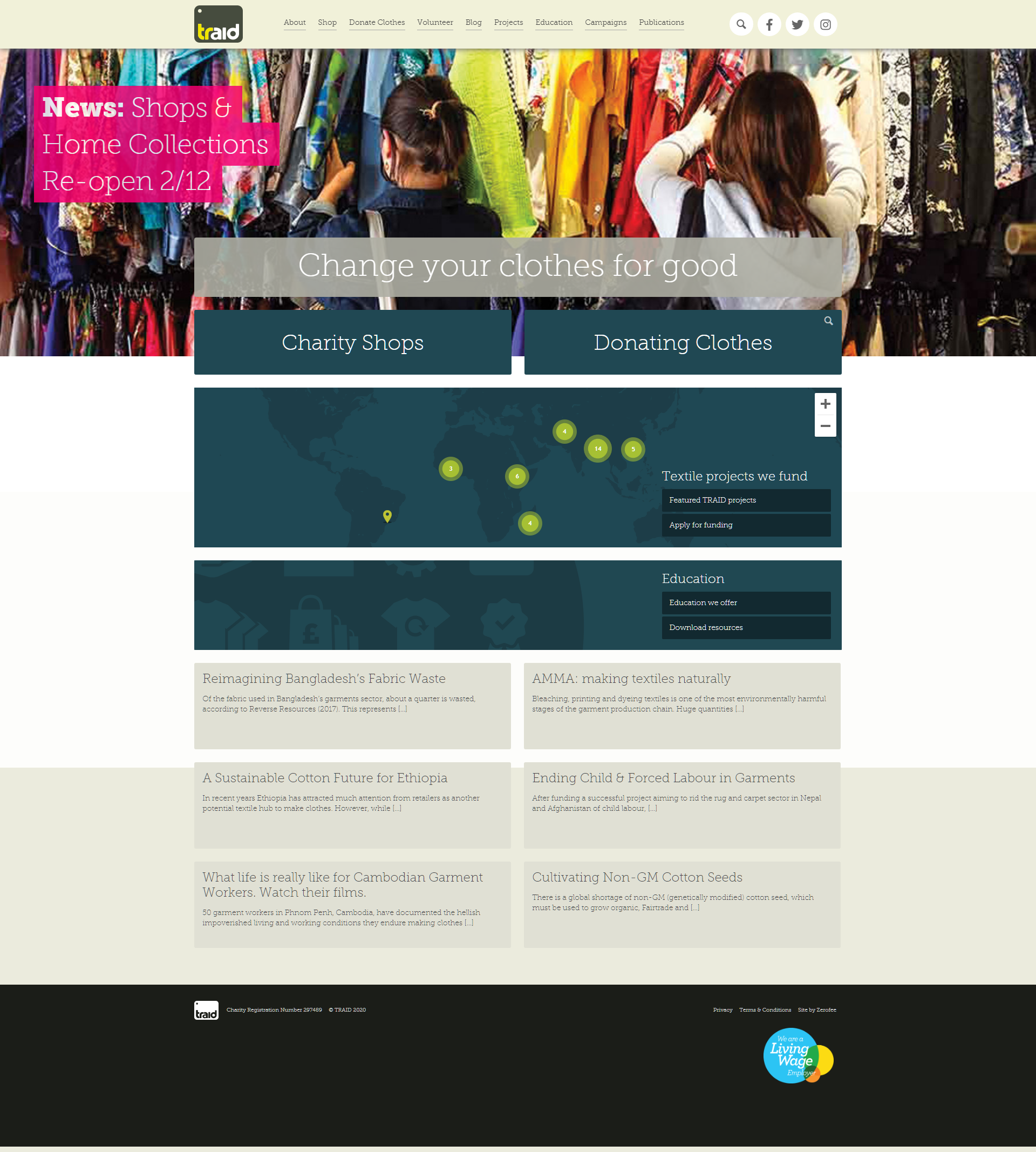 Traid screenshot of website homepage with link to it